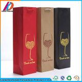 China Factory Foil Hot Stamping Matte Art Paper Wine Bottle Gift Bag