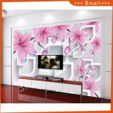 3D Pink Flower and White Lip Shape Oil Painting