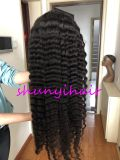 Top Quality Natural Color Hair Deep Wave Full Lace Wig Pre Plucked Wholesale Price Swiss Lace