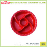 Red Color Devided Melamine Cookie Plate