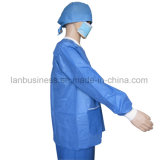 Disposable Lab Coats Blue Bulk Elastic Cuff