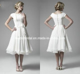 Little White Dress Chiffon Bridal Dress A-Line Boat Cap Sleeves Wedding Dresses H147236