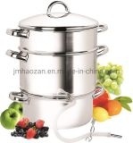 Stainless Steel Cookware Juicer Steamer with Glass Lid, Hose with Clamp Loop Handles