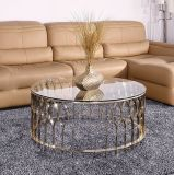 Round Gorgeous Stainless Steel Center Table with Marble Top