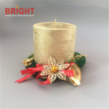 Christmas Custom Gold Lacker Rustic Pillar Candle for Decoration