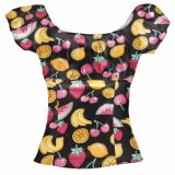 OEM Sweet Wind Fashion Printing Fruit Round Neck Collar Tops Female