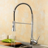 Pullable Spring Double Effluent Chrome Plated Revolve Kitchen Faucet