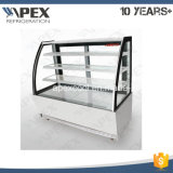 Curved Glass Door with 3 Shelf Baekry Showcase for Cake Display in Convenient Shop