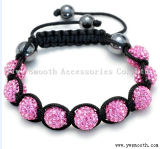 Fashion Glass Rhinestone Bead Handwoven Knitted Adjustable Braided Bracelet