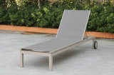 Modern Euro Hotel Patio Aluminum Chaise Lounge Chairs with Wheels Beige Sling Adjustable Back for Hotel Poolside Deck