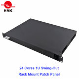 "24 Cores 1u-19"" Swing-out Rack Mount Fiber Optic Patch Panel"