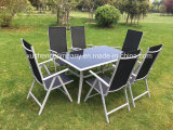 Aluminous Outdoor Furniture Glass Square Picnic Table Set