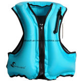 Portable Inflatable Canvas Life Jacket Snorkel Vest for Diving Safety