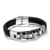 Punk Black Braided Leather Bracelet Magnetic Buckle Simple Style Fashion Bangle