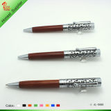 Logo Printed and Wood Engrave Ball Pen