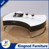MDF Wooden White and Black High Gloss Rotated Coffee Side Table