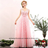 Women Beading 3D Flowers V-Neck Sleeveless Evening Party Prom Dress