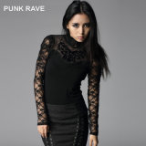 Hot-Sale Punk Rave Chinese Plain Black Stretch Collar Shirts (T-310)