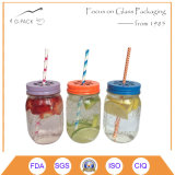 Regular Mouth Glass Mason Drink Jars with Straw and Lids