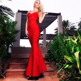 Bandage Maxi Party Dress Red Long Evening Dress Peplum Hem