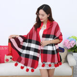 Lady Fashion Acrylic Woven Shawl with Fur Ball Decoration (YKY4453)