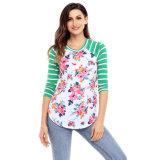 Custom Women's Printing Flower Cheap T-Shirt with Long Sleeve