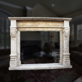 Simple Marble Fireplace in Fine Hand-Carved Floral Design and Good Quality