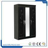 Wooden Grain MDF Italian Bedroom Wardrobe with Mirror and Drawer