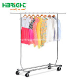 Single Rail Rolling Garment Rack with Four Wheels