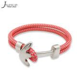 Handmade Custom Nylon Rope Stainless Steel Anchor Bracelet for Men and Women