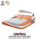 Smart LED Bedroom Set Furniture Modern King Size Leather Beds