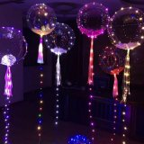 Colorful Christmas Valentine Party LED Lighting Helium Transparent Balloon