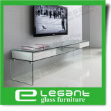 Contemporary Clear Glass TV Stand with High Gloss White Painting Drawers