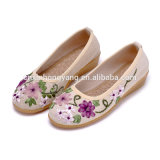 25 Years Factory Custom Ribbon Embroidery Flat Shoes, Old Beijing Cloth Embroidered Shoes Manual Ribbon Cloth Shoes
