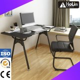 Tempered Glass Computer Desk with Metal Frame for Home Laptop Use