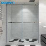 Cheap Frameless Double Sliding #304 Stainless Steel Hardware Clear Glass Shower Door