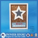 Fashion Wooden Decorative Wall Plaque Art with Star LED Lights and Star