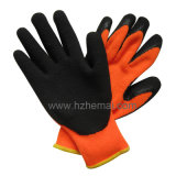 Insulate Nappy Liner Latex Coating Gloves Winter Safety Work Glove