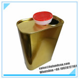 F-Style Metallic Tin Can with Plastic Stretch Lid in Golden Color
