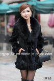 Factory Wholesale Price Women's Rabbit Fur Coat with Fox Fur Collar