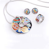 Hot Sales 925 Silver Polish Enamel Jewelry Set Rhodium Plating