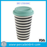 White and Black Stripe Ceramic Travel Cup with Silicone Lid
