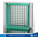 Green/Clear Parallel Patterned Glass Block/Brick Glass for Decoration (G-B)