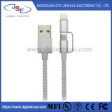 2 in 1 Lightning and Micro USB Cable Nylon Braided Sync and Charging Cable for iPhone/Android Phone