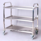 Manumotive Three Layer Stainless Steel Service Cart/Trolley for Food (SITTY 90.8333-1)
