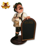 High Quality Shop Outdoor Decorative Resin Kitchen Fat Chef with Menu Chalkboard Statue