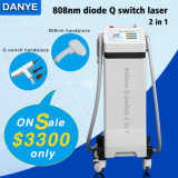 Promotion Price 808nm Diode Q Switch YAG Laser for Hair Removal and Tattoo Removal 2 in 1 System