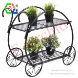 Garden Cart Stand Flower Pot Plant Holder 2 Tier Display Rack Heavy Duty Metal Home Decorative Plant Display Stand