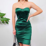 Women Clothes Fashion Sequin-Embellished Sexy Dress Apparel Draped-Front Silk Mini Lady Party Dress Clothing
