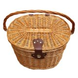 Hand-Made Front Handlebar Wicker Bike Basket with Cover Adjustable Strip Natural